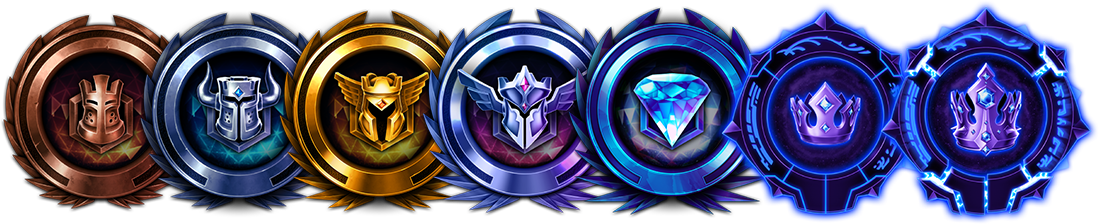 Icons representing ranked tiers, from Bronze to Grand Master